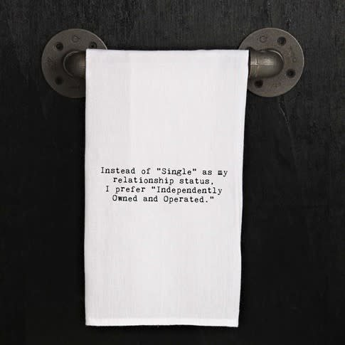 "Fleurish Home Quotes Towel Instead of ""Single"", I prefer... ."