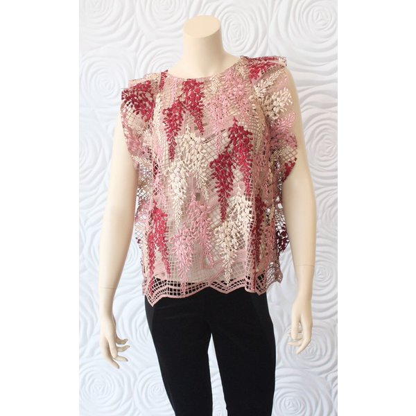 Once Was Amytis Lace Swing Top with Cami in Pink