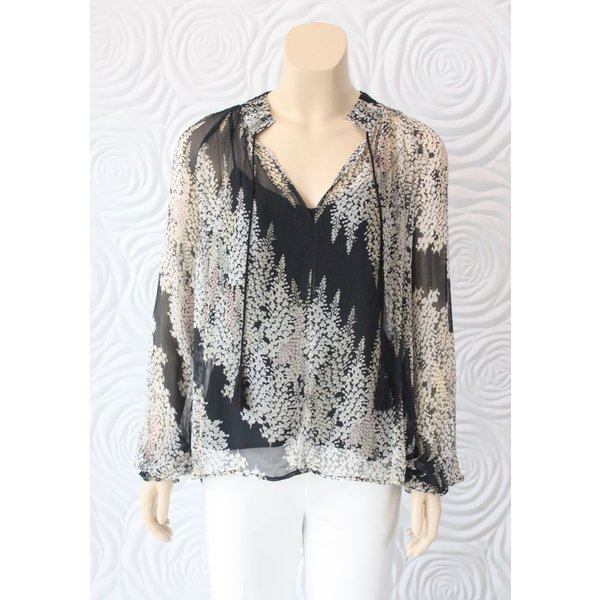 Once Was Salome Pleat Detail Printed Yoryu Top