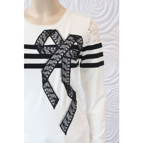 Leo Guy Leo & Ugo Long Sleeve Knit Top with Lace and Stripe