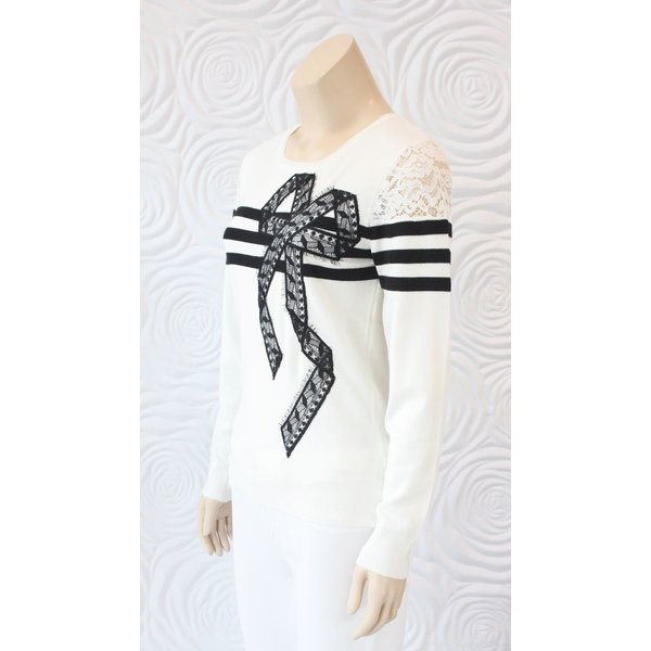Leo & Ugo Long Sleeve Knit Top with Lace and Stripe