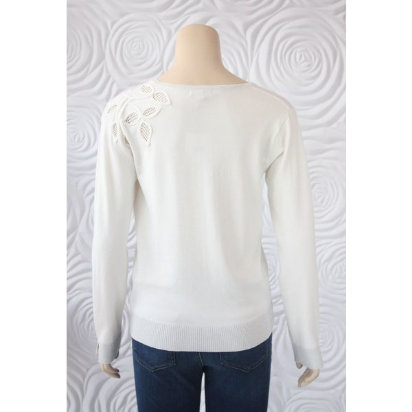 Leo & Ugo Top with Floral Cut Out and Silver Trim