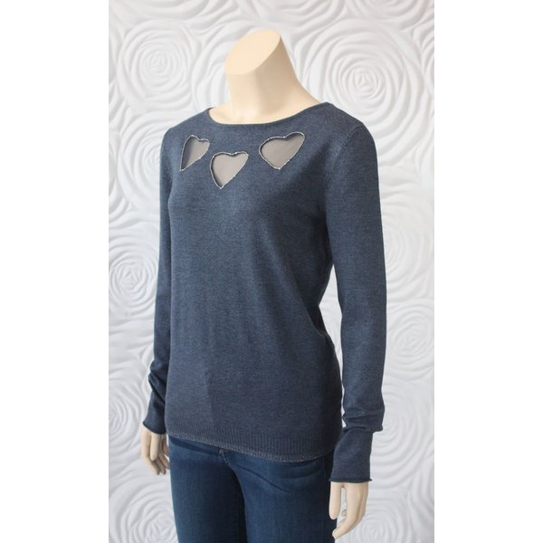 Leo & Ugo Long Sleeve Blouse with Sheer Heart on Chest