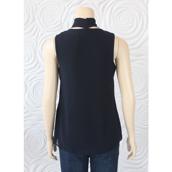 Iris Sleeveless Top With Detachable Scarf in Navy