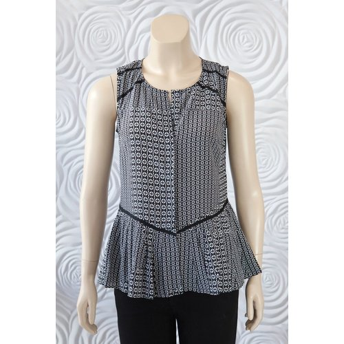 Ecru Ecru Deconstructed Geo Sleeveless Top
