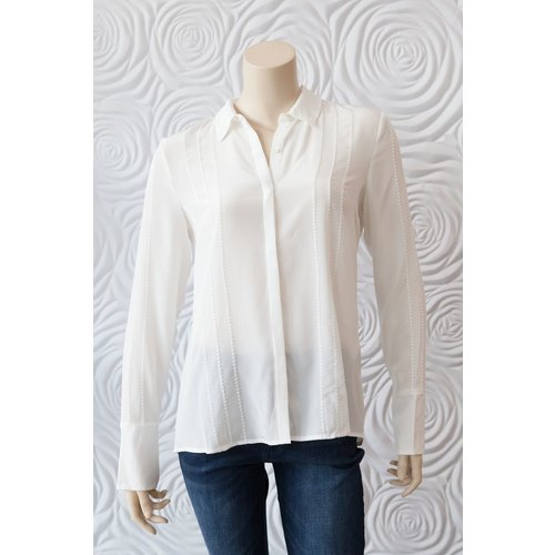 Ecru Ecru SIlk Button Down In Alabaster