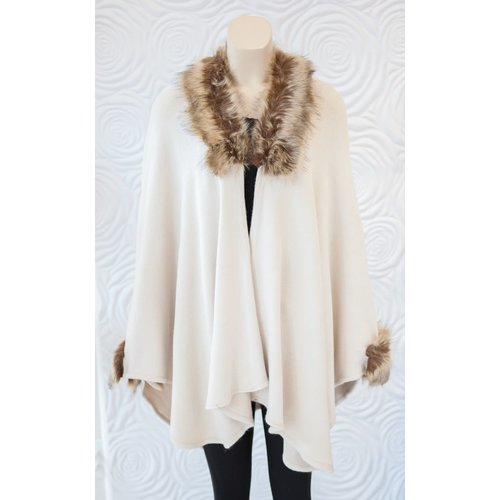 Rino & Pelle Rino & Pelle Poncho with Fur Trim