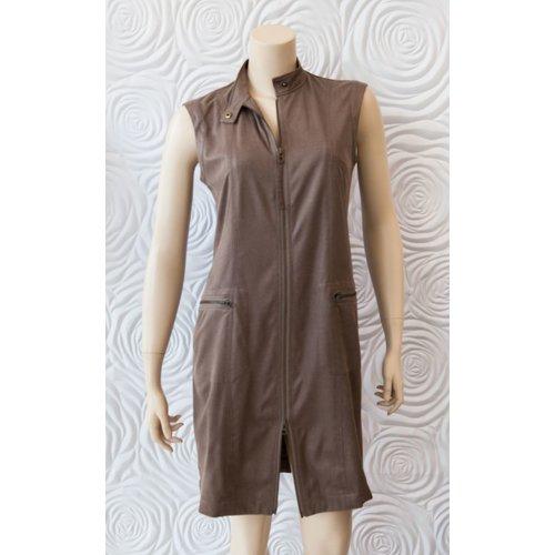 209 West 209 West Sleeveless Dress with Zipper Pockets in Mocha