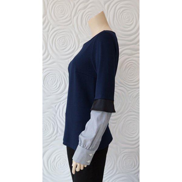 Minan Wong Knit Shirt Blouse with Scoop Neck