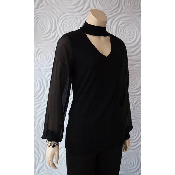 Iris Merino Wool Sweater With Chiffon Sleeves
