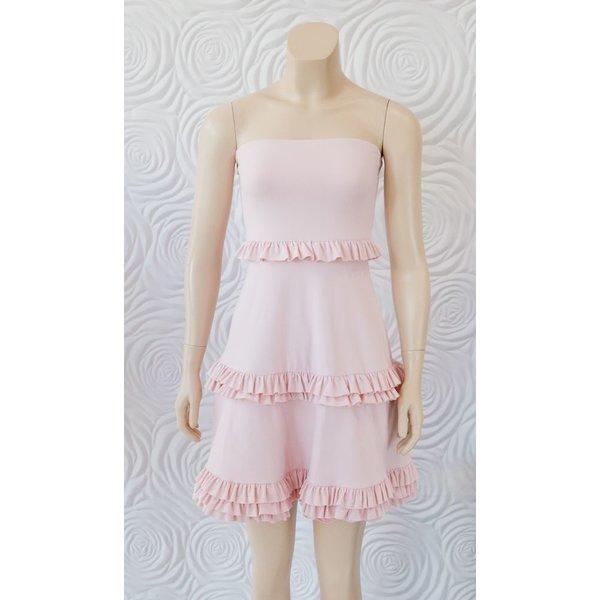 "Susana Monaco Strapless Tiered Flare Dress 20"""