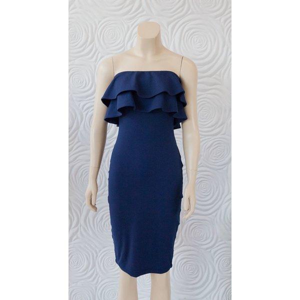 "Susana Monaco Strapless Double Ruffle Dress 30"""