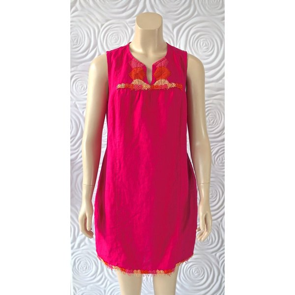 Haris Cotton Linene Dress Sleeveless with Neck Cut Out