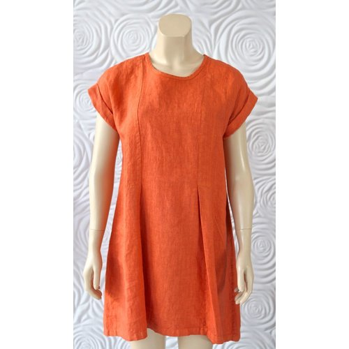 Haris Cotton Haris Cotton Short Sleeve Dress with Crew Neck and Slight Pleats