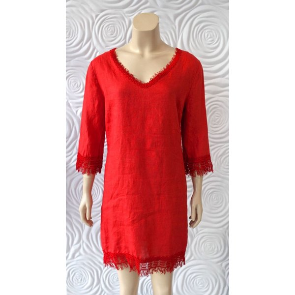 Haris Cotton V-neck Dress with 3/4 Sleeve with Embroidered Detail