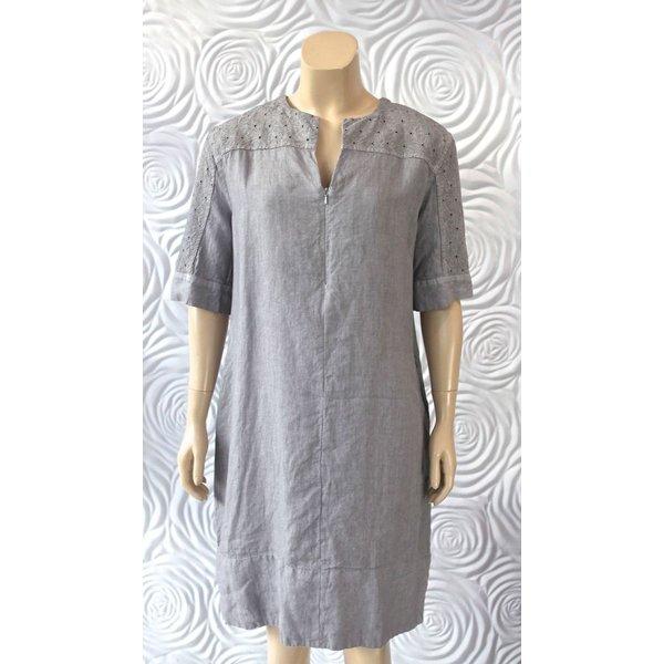 Haris Cotton Short Sleeve Linen Dress with Zipper Detail