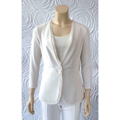Iris Iris Jersey Knit Long Slong Jacket With Trim Detail