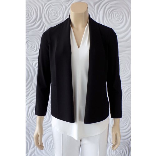 Iris Iris Jersey Knit Open Front Jacket with Patch Pockets