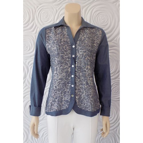 Valentina Valentina Stretch Knit Button Down with Embroidered Front