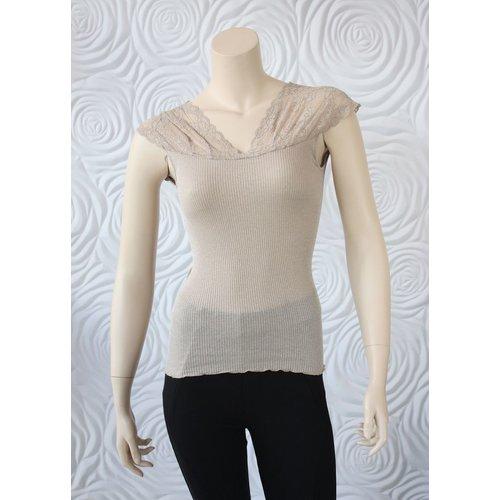 Rosemunde Rosemunde Silk regular Top with Lurex and Lace