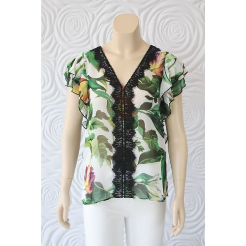 Kay Celine Kay Celine Flutter Sleeve Sheer Print Blouse With Lace Detail