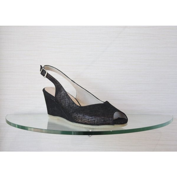 Spiffy Low Wedge with Open Toe and Ankle Strap in Black