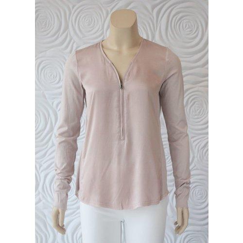 Go Silk Go Silk Long Sleeve Top with Zipper Front