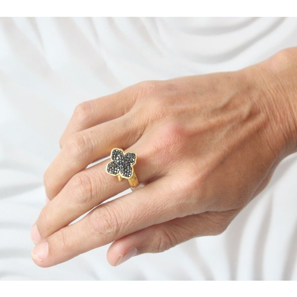 La Costa Gold Logo Crystal Ring Hematite