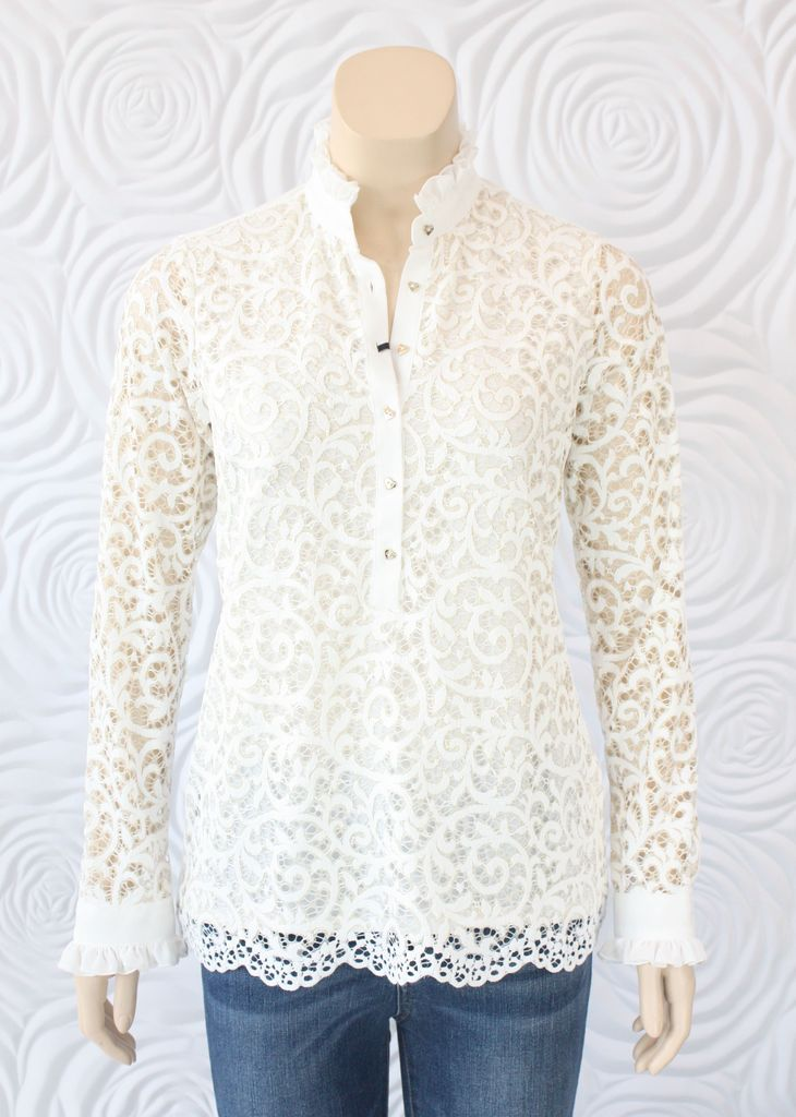 f87e65f0b7201 Valentina Lace Long Sleeve Blouse with Ruffle Collar - Blessed Boutique