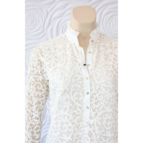 Valentina Lace Long Sleeve Blouse with Ruffle Collar