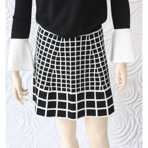 D Exterior D Exterior Black & White Printed Skirt
