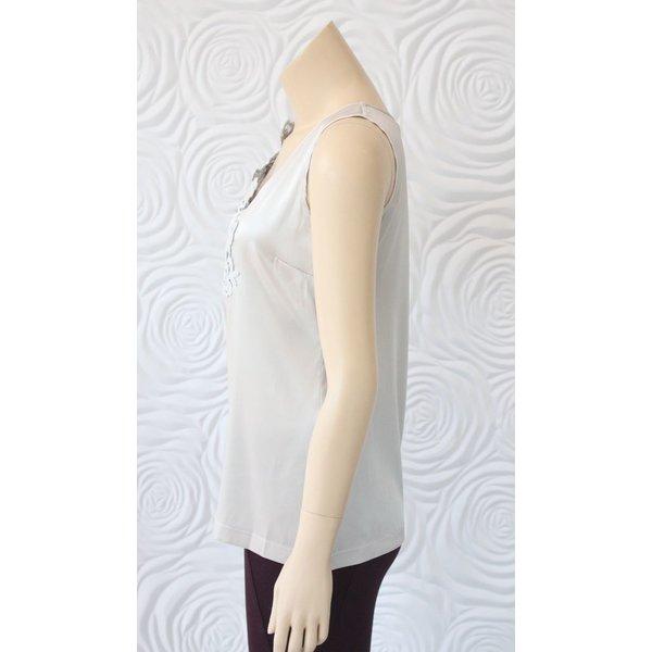 D Exterior Sleeveless Silk Blouse