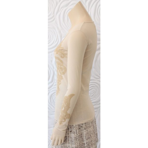 D Exterior Tulle Top with Contrasting Velvet Detail in Nude