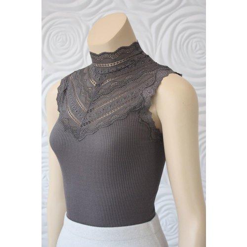 Rosemunde Rosemunde Silk With Lace In Grey