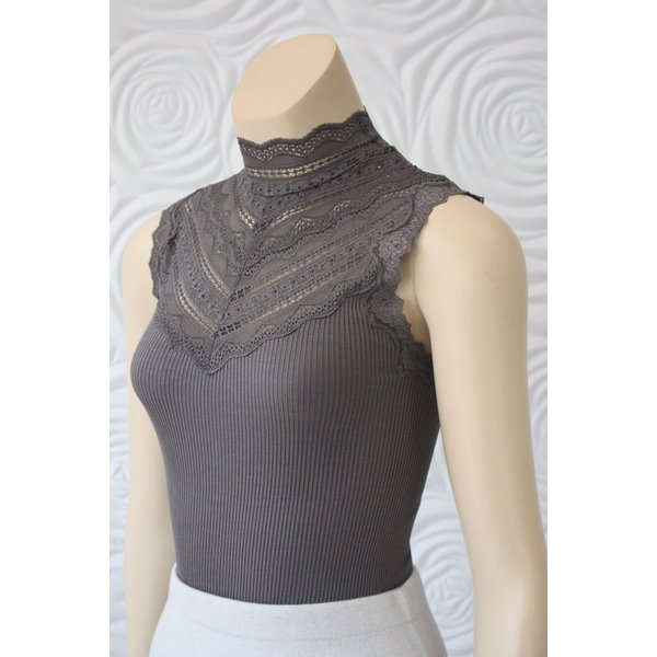 Rosemunde Silk With Lace In Grey