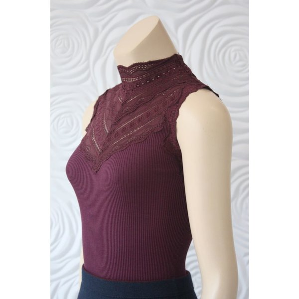 Rosemunde Silk Top With Lace In Wine