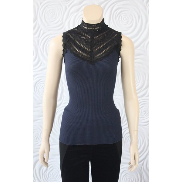 Rosemunde Silk Top With Lace in Navy