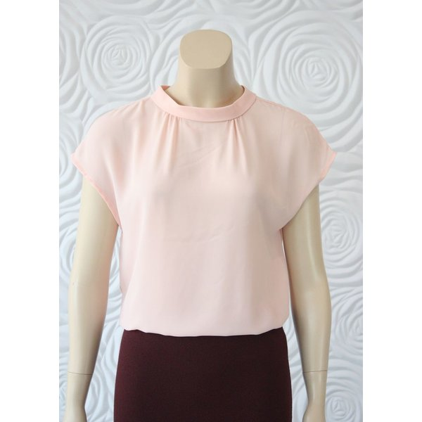 Weill Silk Blouse with High Collar in Pink