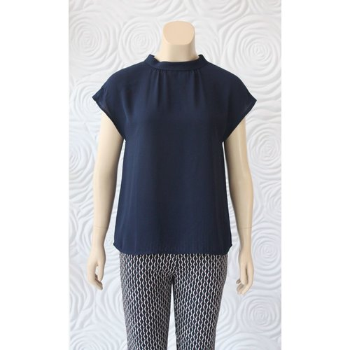Weill Weill Silk Blouse with High Collar in Navy