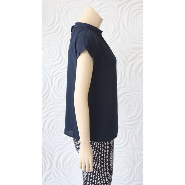 Weill Silk Blouse with High Collar in Navy