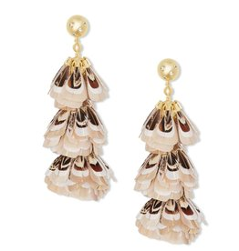 Lenni Earring - Gold Ivory Feathers CZ