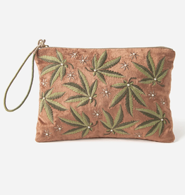 Wristlet Just a Weed - Medium Embroidered Velvet Pouch