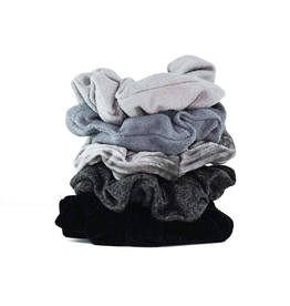 Hair Accessory Velvet Scrunchies - Black and Gray
