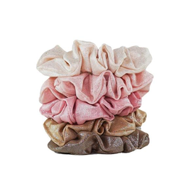 Hair Accessory Metallic Scrunchies - Blush and Mauve