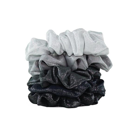 Hair Accessory Metallic Scrunchies - Black and Gray