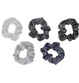 Hair Accessory Metallic Scrunchies - Black and Gray