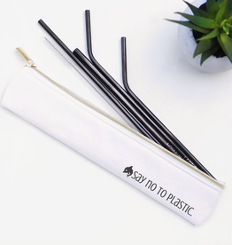 Straws Say No To Plastic Set of 4 Straws - Black