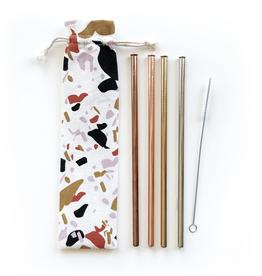 Straws Terrazzo Reusable Straws - 6 Piece Set