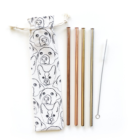 Straws Love Your Dog Reusable Straws - 6 Piece Set