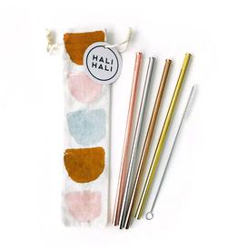 Straws Half Moons Reusable Straws - 6 Piece Set
